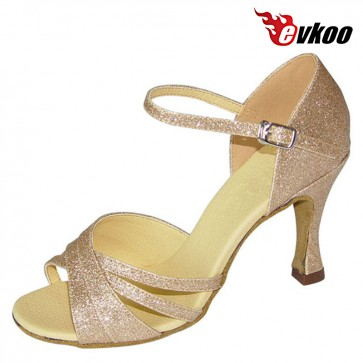 Evkoo Dance Gold Sparking Latin Dance Shoes For Ladies 7cm Heel Dance Shoes Evkoo-094